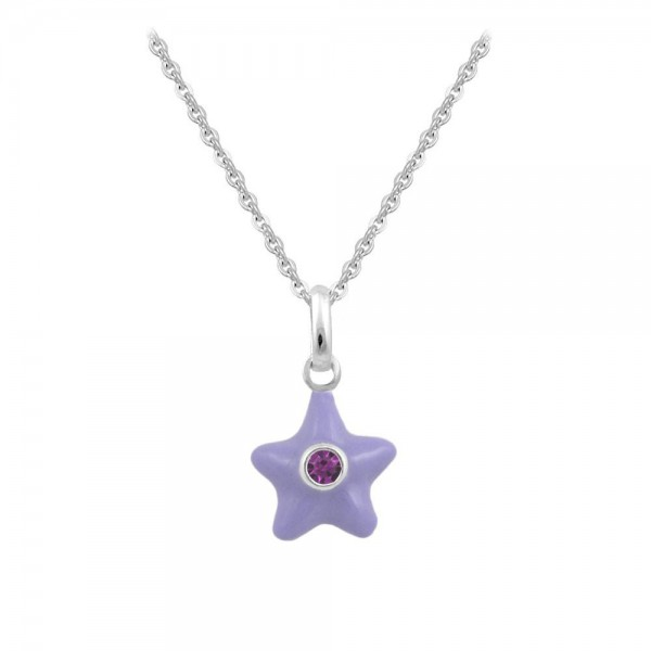 Sterling Silver Girl's June Birthstone Star Pendant Necklace (12-18 In)