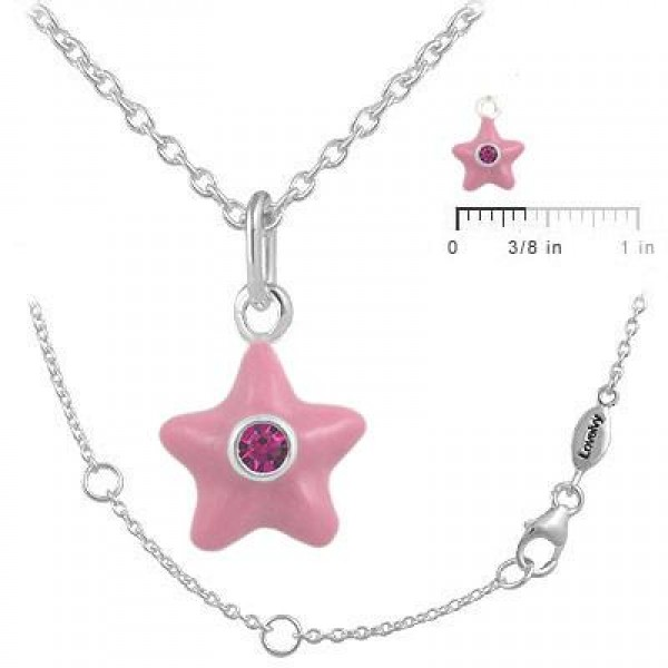 Sterling Silver Girl's July Birthstone Star Pendant Necklace (12-18 In)