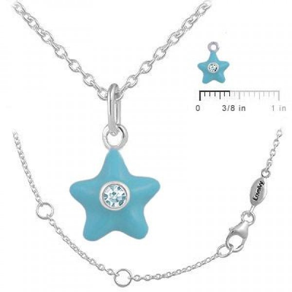Sterling Silver Girl's December Birthstone Star Pendant Necklace (12-18 In)