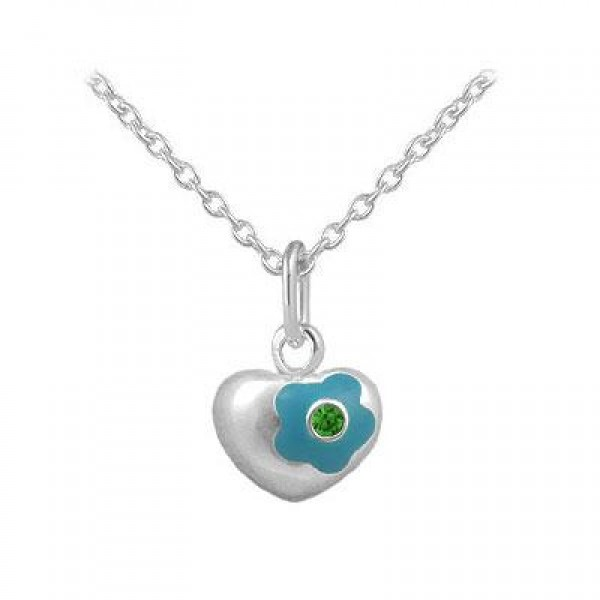 12-18 Inches Silver May Birthstone Flower Heart Girls Necklace