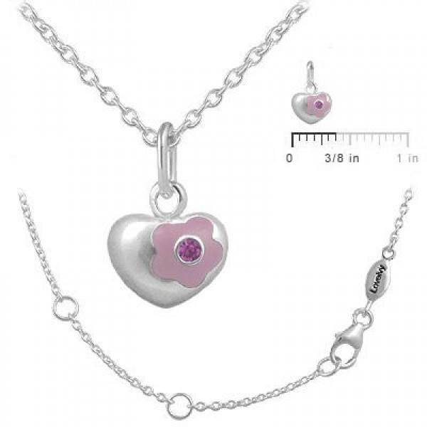 12-18 Inches Silver October Birthstone Flower Heart Girls Necklace