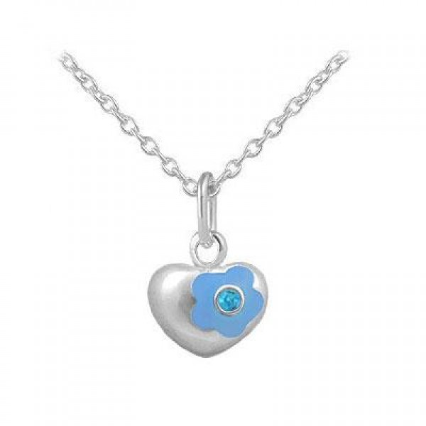 12-18 Inches Silver December Birthstone Flower Heart Girls Necklace