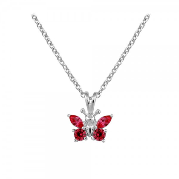 Girl's Sterling Silver CZ January Birthstone Butterfly Necklace (15 in)