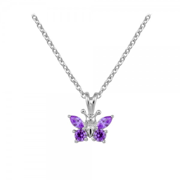 Girl's Sterling Silver CZ February Birthstone Butterfly Necklace (15 in)