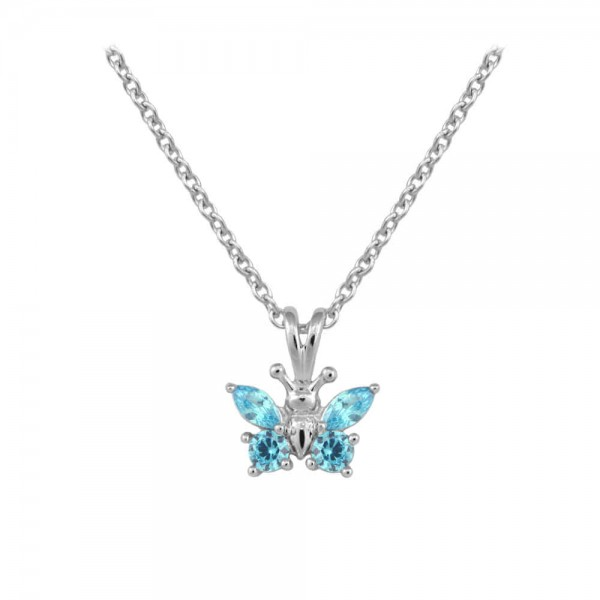 Girl's Sterling Silver CZ March Birthstone Butterfly Necklace (15 in)