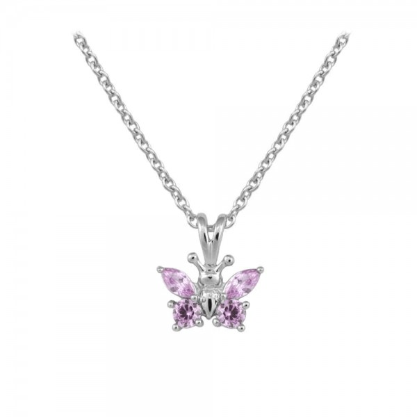 Girl's Sterling Silver CZ June Birthstone Butterfly Necklace (15 in)
