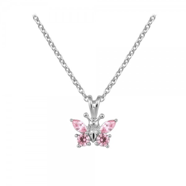 Girl's Sterling Silver CZ October Birthstone Butterfly Necklace (15 in)