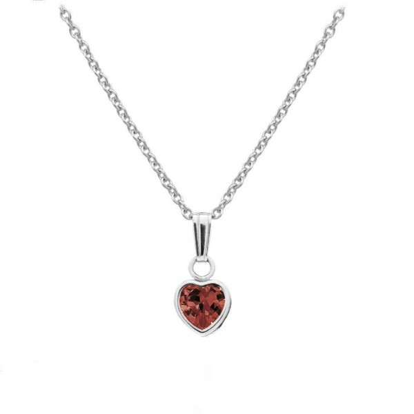 Little Girl Sterling Silver January Birthstone Heart Pendant Necklace (13 in)