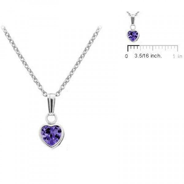Little Girl Sterling Silver February Birthstone Heart Pendant Necklace (13 in)
