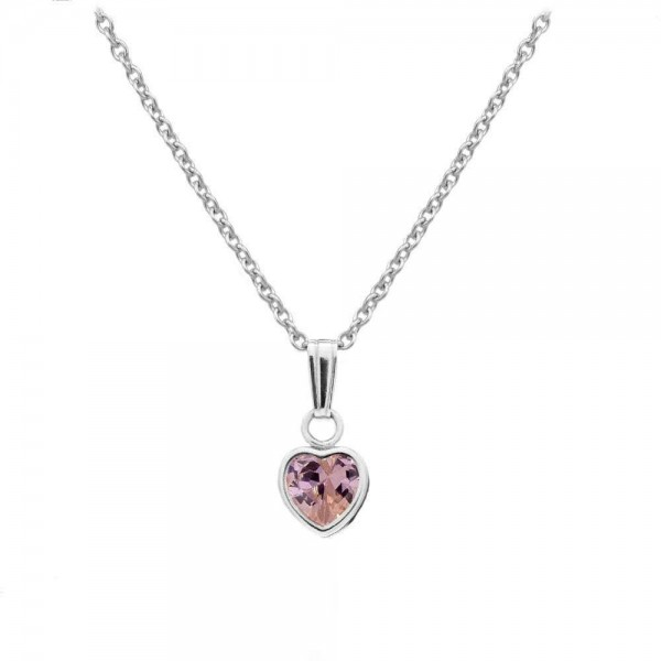 Little Girl Sterling Silver October Birthstone Heart Pendant Necklace (13 in)