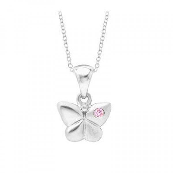 Young Girl's Silver Butterfly Pendant With Pink Sapphire (14 to 16 inches)