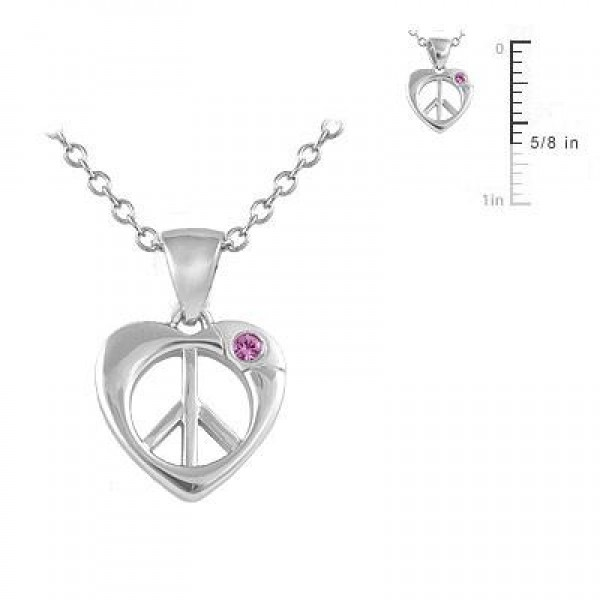Silver Pink Sapphire Heart Shape Peace Sign Pendant Girl Necklace (14-16 inches)