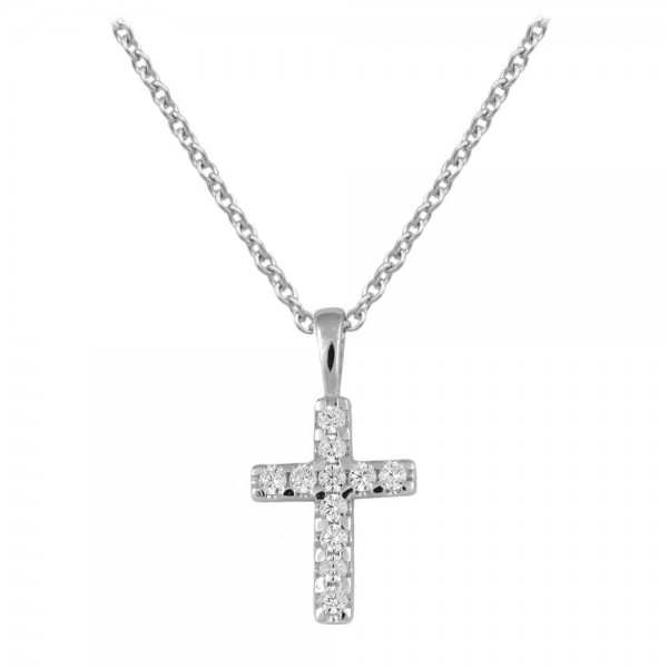 Children Jewelry - Sterling Silver White CZ Cross Necklace For Girls (15 in)