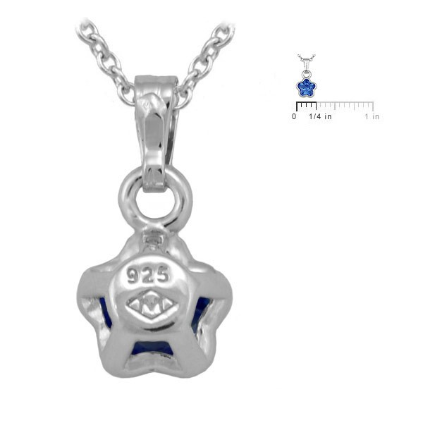 Silver CZ September Birthstone Flower Necklace For Babies & Toddlers (13 in)