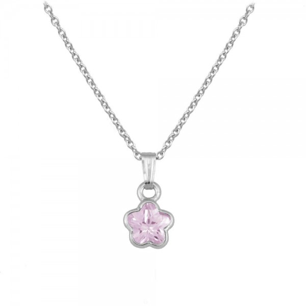 Silver CZ October Birthstone Flower Necklace For Babies & Toddlers (13 in)