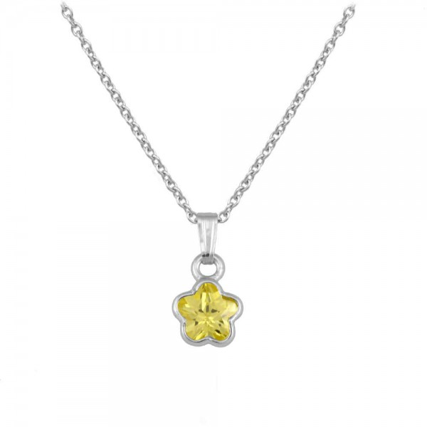 Silver CZ November Birthstone Flower Necklace For Babies & Toddlers (13 in)