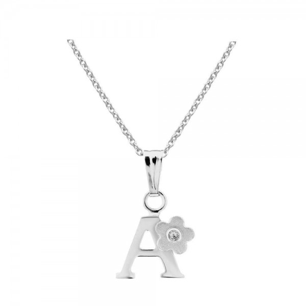 Girls Jewelry - Silver Diamond Initial A Flower Pendant Necklace (14-16 in)