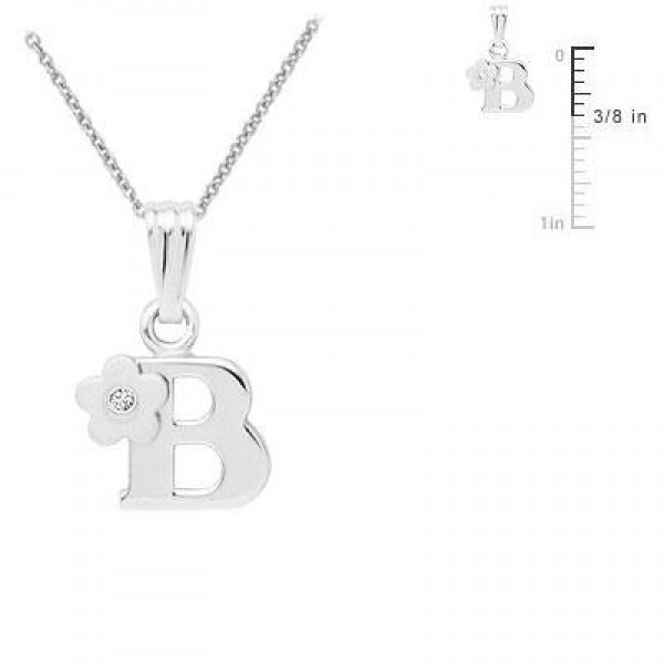 Sterling Silver Diamond Initial B Pendant Girls Necklace (14-16 in)