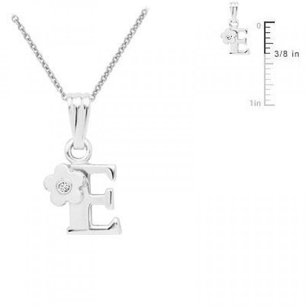 Sterling Silver Diamond Initial E Pendant Girls Necklace (14-16 in)
