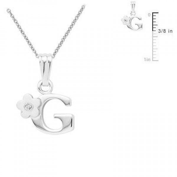 Sterling Silver Diamond Initial G Pendant Girls Necklace (14-16 in)