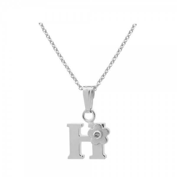 Sterling Silver Diamond Initial H Pendant Girls Necklace (14-16 in)