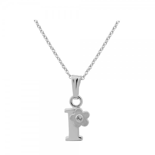 Sterling Silver Diamond Initial I Pendant Girls Necklace (14-16 in)