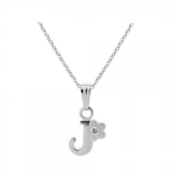 Sterling Silver Diamond Initial J Pendant Girls Necklace (14-16 in)