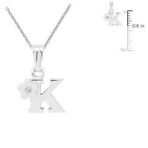 Girls Jewelry - Silver Diamond Initial K Flower Pendant Necklace (14-16 in)