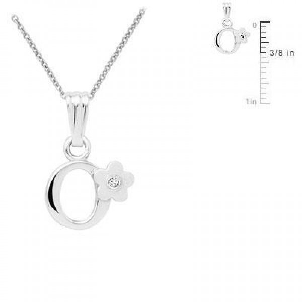 Sterling Silver Diamond Initial O Pendant Girls Necklace (14-16 in)