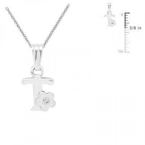 Sterling Silver Diamond Initial T Pendant Girls Necklace (14-16 in)