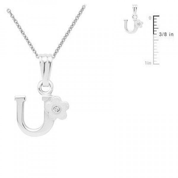 Sterling Silver Diamond Initial U Pendant Girls Necklace (14-16 in)