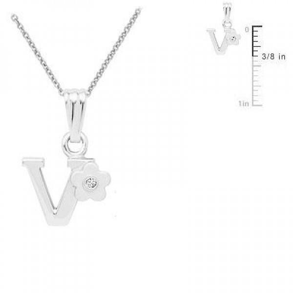 Sterling Silver Diamond Initial V Pendant Girls Necklace (14-16 in)