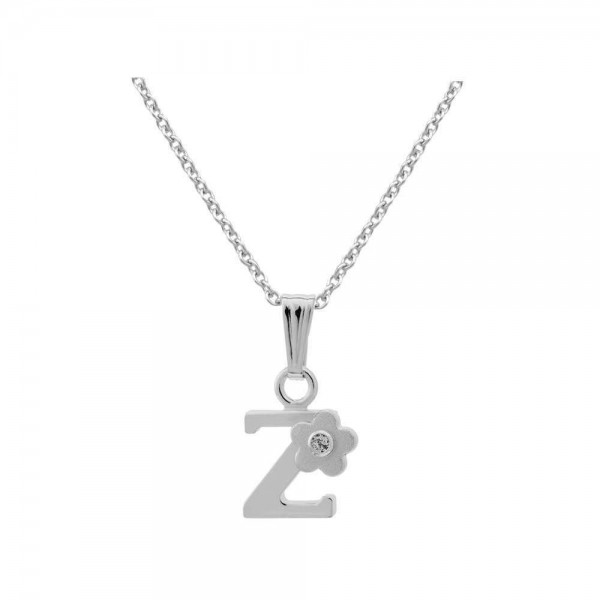 Sterling Silver Diamond Initial Z Pendant Girls Necklace (14-16 in)