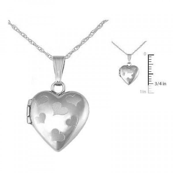 Children's Jewelry - 15 Inches 14K White Gold Heart Locket Necklace