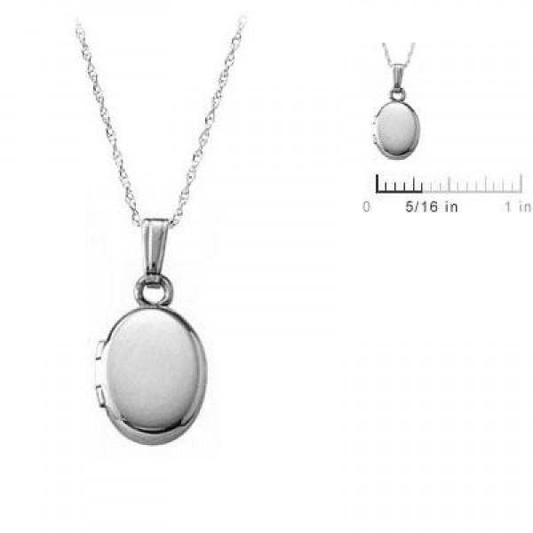 13 Inches Rope Chain 14K White Gold Oval Locket For Babies Or Toddlers