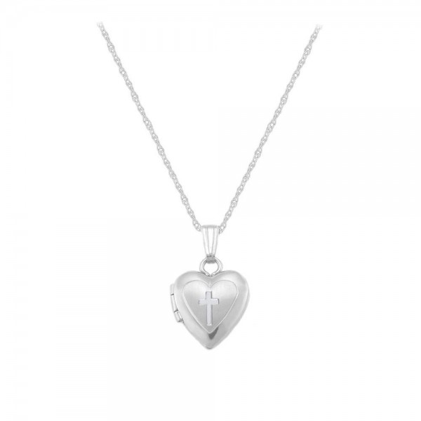 14K White Gold Heart Cross Rope Chain Locket For Babies And Toddlers (13 in)