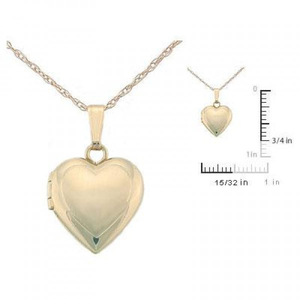 Children's Jewelry - 15 Inches 14K Yellow Gold Heart Locket Necklace