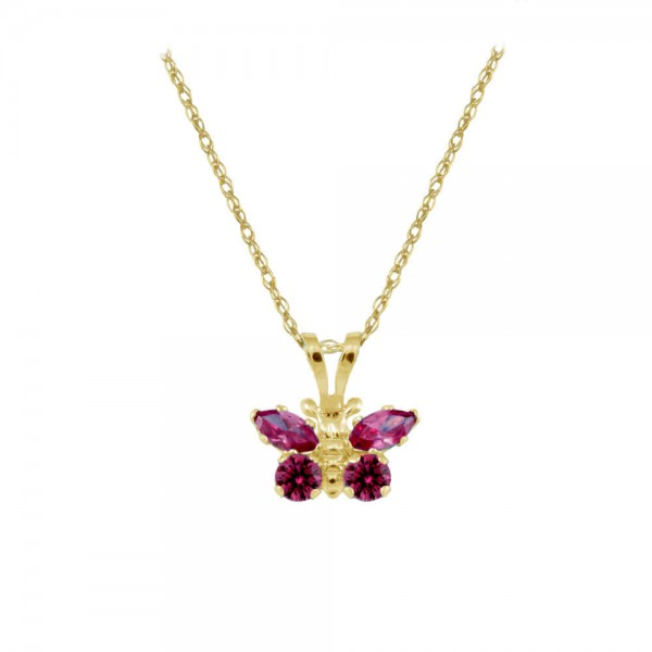 Girl's 14K Yellow Gold CZ July Birthstone Butterfly Necklace (15 in)