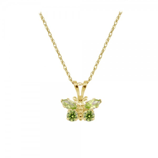 Girl's 14K Yellow Gold CZ August Birthstone Butterfly Necklace (15 in)