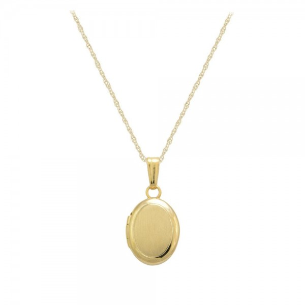 Baby And Toddler Jewelry - 13 In 14K Yellow Gold Oval Locket Necklace