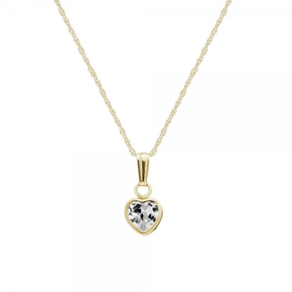 Little Girl 14K Yellow Gold April Birthstone Heart Pendant Necklace (13 in)