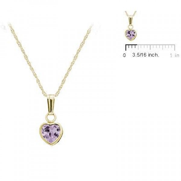 Little Girl 14K Yellow Gold June Birthstone Heart Pendant Necklace (13 in)