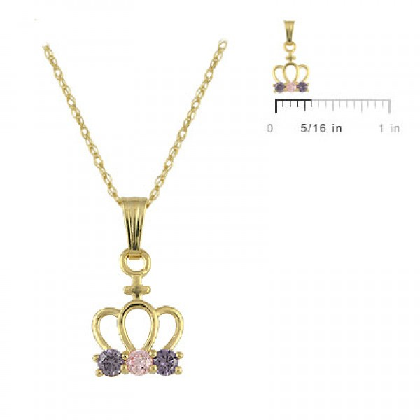 Girls 14K Yellow Gold Pink/Purple CZ Crown Pendant Necklace (15 inches)
