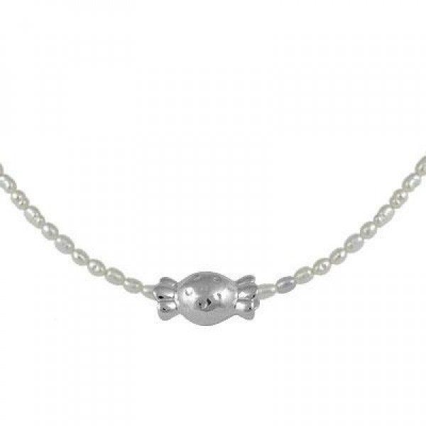 Sterling Silver Cultured Rice Pearl Bonbon Candy Girl's Necklace (15-17 In)