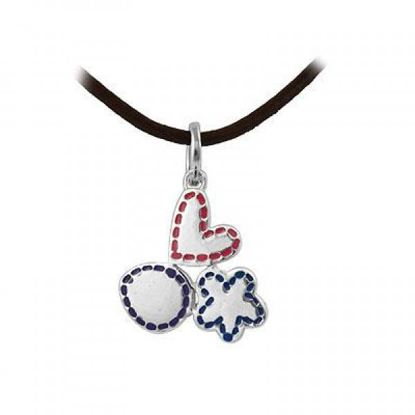 Child & Teen Silver Heart & Flower Pendant Leather Cord Necklace (16 in)