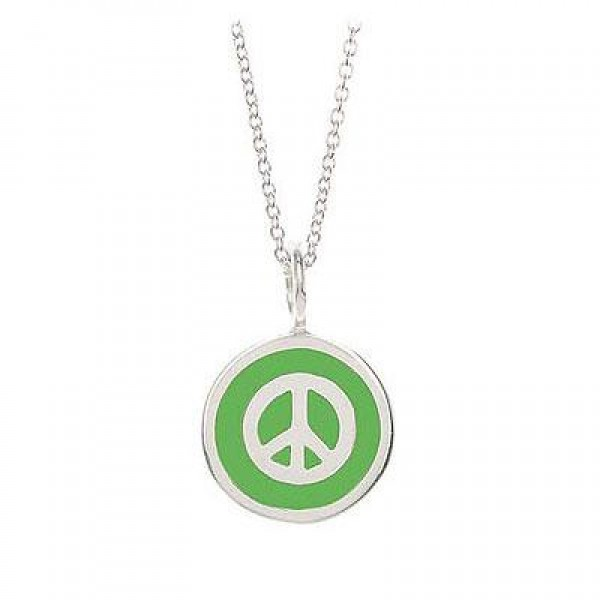 Children Sterling Silver Peace Sign Charm Necklace (14 Inches Chain )