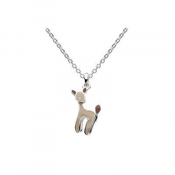 12-14 Inches Sterling Silver Enameled Deer Pendant Necklace For Kids