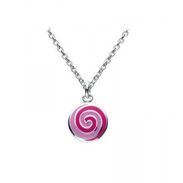 12-14 Inches Silver Stripe Enameled Lollipop Swirl Girls Necklace