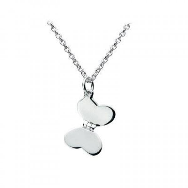 Girls Jewelry - Sterling Silver Butterfly Heart Necklace (12-14 inches)