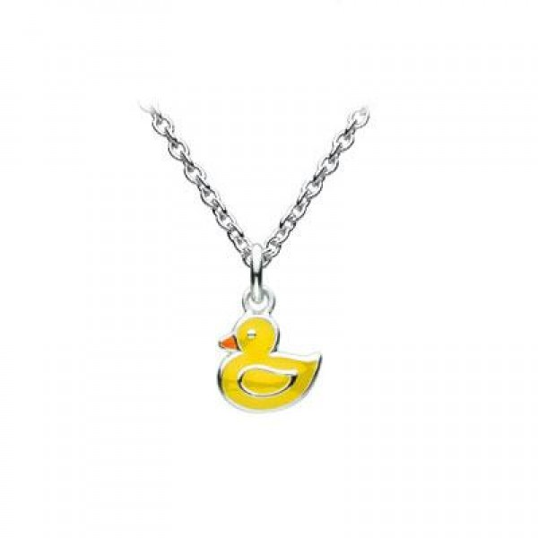 Kids Jewelry - Sterling Silver Yellow Enameled Duck Necklace (12-14 in)